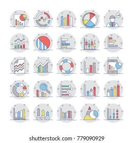 Business Charts and Diagrams Flat Circular Icons 4