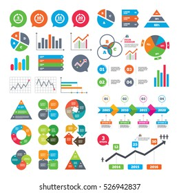 Business charts. Growth graph. Every 5, 10, 15 and 20 minutes icons. Full rotation arrow symbols. Iterative process signs. Market report presentation. Vector
