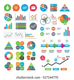 Business charts. Growth graph. Business icons. Human silhouette and presentation board with charts signs. Case and gear symbols. Market report presentation. Vector