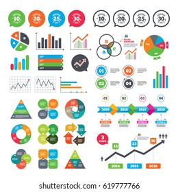 Business charts. Growth graph. Sale discount icons. Special offer stamp price signs. 10, 20, 25 and 30 percent off reduction symbols. Market report presentation. Vector