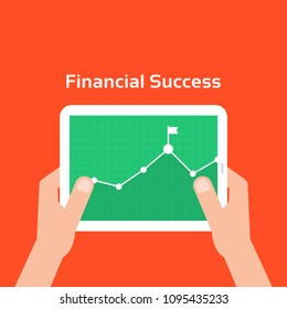 business charts like financial success. concept of portable device with stock market element or businessman research. cartoon flat style modern simple graphic mobile app ui design illustration