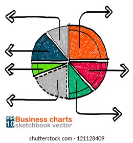 Business charts : sketchbook vector