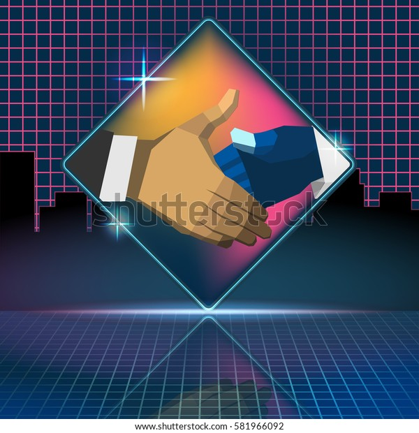 Business Check Hand Deal Retro Style Vector