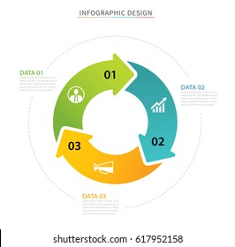 Business circle arrows infographic template with 3 data. Can be used for workflow layout, graph, presentation chart diagram, annual report, web design, steps or processes.