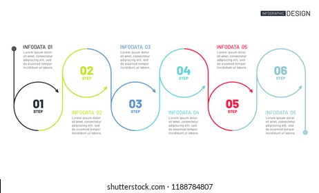 Business circle process lines design with arrows. Timeline with 6 steps or options. Vector linear infographic element.