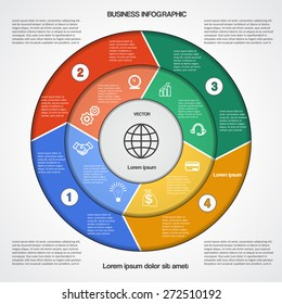 Business circular infographic template with text areas on four positions for success project, workflow, web design, advertising banner and other Your variant