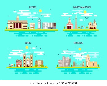 Business city in England. Detailed architecture of Leeds, Northampton, York, Bristol. Trendy vector illustration, flat art style. Blue background