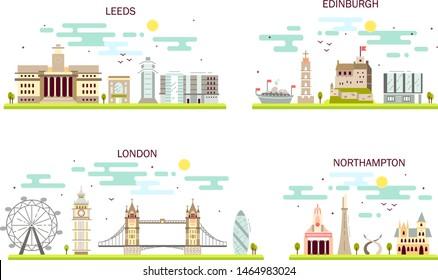 Business city in England. Detailed architecture of London, Leeds, Edinburgh, Northampton. Trendy vector illustration, flat art style.