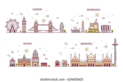 Business city in England. Detailed architecture of London, Edinburgh, Oxford, Brighton. Trendy vector illustration, line art style.