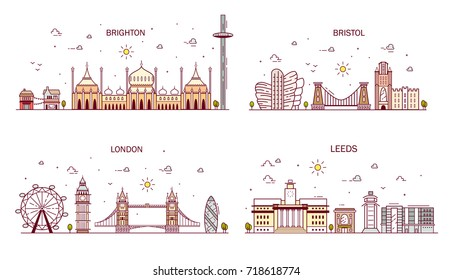 Business city in England. Detailed architecture of London, Leeds, Brighton, Bristol. Trendy vector illustration, line art style