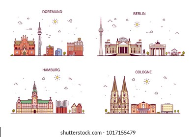 Business city in Germany. Detailed architecture of Berlin, Dortmund, Cologne, Hamburg. Trendy vector illustration, line art style.