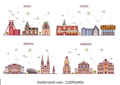 Business city in Germany. Detailed architecture of Essen, Leipzig, Bremen, Dresden. Trendy vector illustration, line art style.
