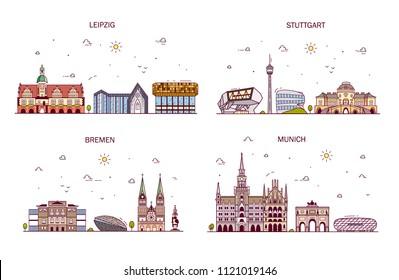 Business city in Germany. Detailed architecture of Leipzig, Stuttgard, Bremen, Munich. Trendy vector illustration, line art style.