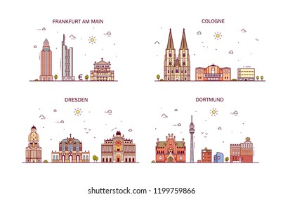 Business city in Germany. Detailed architecture of Frankfurt am Main, Cologne, Dortmund, Dresden, Hamburg. Trendy vector illustration, line art style.