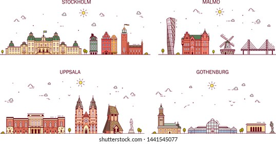 Business city in Sweden. Detailed architecture of Stockholm, Malmo, Gothenburg, Uppsala. Trendy illustration, line art style.