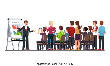 Business class teacher & mentor teaching young business students audience to read, analyze economical statistical data using charts on flipchart stand in classroom. Flat vector character illustration