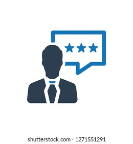 Business Client Rating Feedback Icon - Vector