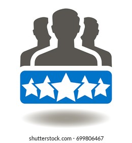 Business Client Satisfaction Vector Icon. People Group Stars Illustration. Rating Evaluation Assessment Symbol.