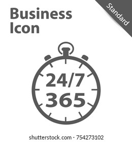 Business Clock Icon 24/7 365 Days - Standard label for Customer Service, Support, Call Center... Isolated on gray Background