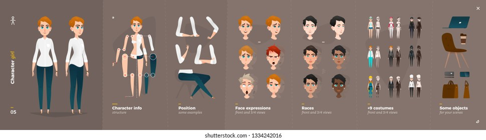 Business Clothes Style. Girl Cartoon Character for Animation. Default Body Parts Poses with Face Emotions. Five Ethnic Styles