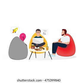 Business co working process. Three people make conversation and work together and eat fast food. Open space office. Man, girl, students, bag chair, cafe, canteen colored vector illustration.