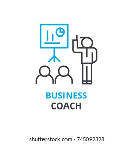 Business coach concept , outline icon, linear sign, thin line pictogram, logo, flat vector, illustration