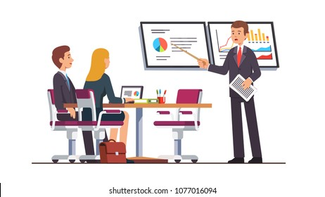 Business coach giving lecture on strategic planning and marketing data analysis to business students. Presentation screens displaying diagrams and charts. Flat vector illustration isolated on white