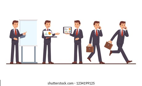 Business coach man doing project presentation showing charts on flipchart, laptop and tablet computer, walking, running with phone & suitcase. Businessman poses. Flat cartoon vector illustration