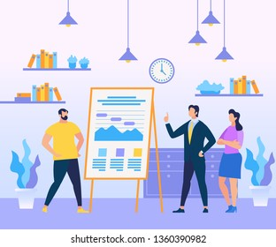Business Coach Person in Blue Suit Teaching Man and Woman Standing at Chart Board with Diagrams and Graphs on Office Interior Background. Learning People, Education. Cartoon Flat Vector Illustration