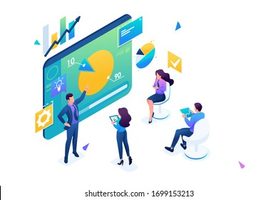 Business coach trains employees of the company. Concept training at work, professional development. 3D isometric. Concept for web design