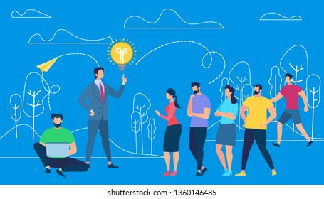 Business Coacher Training Employees on Blue Outline Nature Background with Trees and Clouds. Teambuilding. Man with Light Bulb Above of Finger. Corporate Coaching. Cartoon Flat Vector Illustration