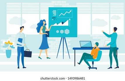 Business Coaching Courses Flat Vector Illustration. Economic School Teacher and Students Cartoon Characters. Financial Literacy Seminar, Presentation. Data Analysis Class, Tutor Training new Employees