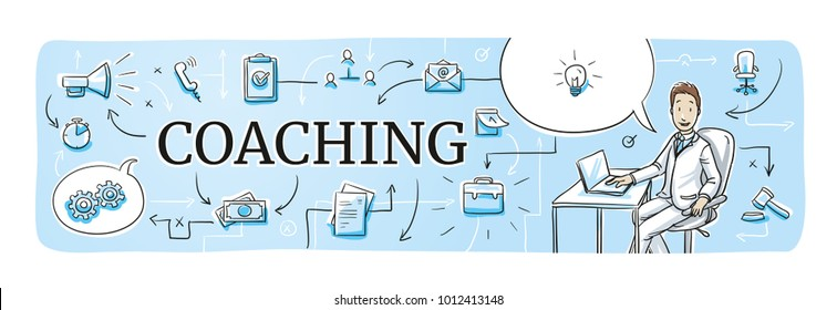 Business coaching web banner for blog or website header with smiling business man and icons. Hand drawn cartoon sketch vector illustration, whiteboard marker style coloring.