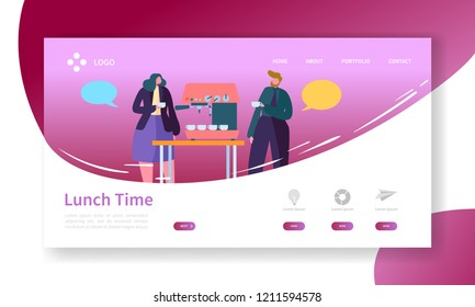 Business Coffee Break Landing Page. Lunch Time Banner with Flat People Characters Website Template. Easy Edit and Customize. Vector illustration