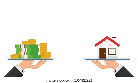 Business coin and house vector. free space for text. wallpaper.