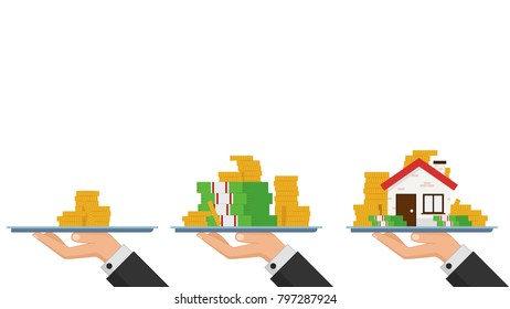 Business coin up vector. free space for text. wallpaper. business vector.
