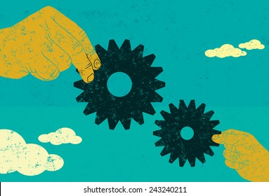 Business Collaboration Two hands connecting gears. A big business and small business working together. The hands and gears are on a separate labeled layer from the background.