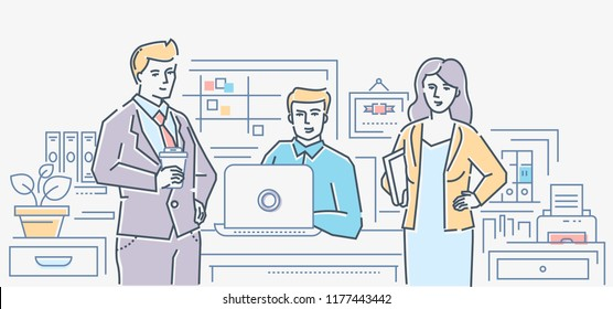 Business colleagues - colorful line design style illustration on white background. A composition with cheerful staff, managers at the workplace. Linear images of office supplies, folders, kanban