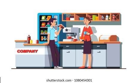 Business colleagues drinking and resting in corporate office kitchen room. Company workers having coffee brake and chatting next to vending machine. Lunch time in dining room. Flat vector illustration