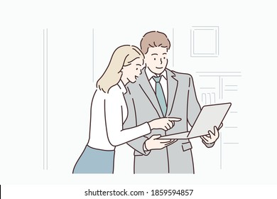 Business colleagues looking at tablet in office. Hand drawn style vector design illustrations.