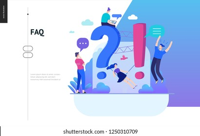 Business, color 2- FAQ -modern flat vector concept illustration of Frequently asked questions People around exclamation and question marks Question answer metaphor Creative web page design template