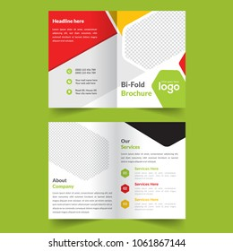 business colorful bi fold brochure or magazine cover design vector template
