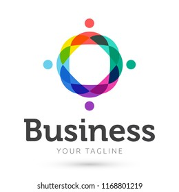 Business colorful logo , people abstract business logo