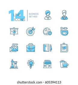 Business - coloured vector modern single line icons set. Male, female person, pie chart, globe, gear, protractor, pencil, letter, case, notepad, chess king, queen, light bulb, house, coffee.