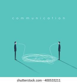 Business communication concept illustration with tangled lines. Businessmen having conversation symbol. Sign of misunderstanding or communicating breakdown. Eps10 vector illustration.