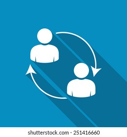 Business communication. Conceptual illustration. Profile users connected icon. Social icons. Men exchanging symbol. Modern flat icon with long shadow effect