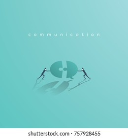 Business communication and cooperation vector concept with businessman pushing jigsaw speech bubble. Symbol of teamwork, collaboration. Eps10 vector illustration.