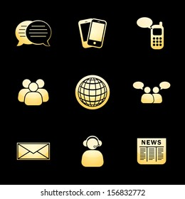 Business Communication Icons Gold Icon Set