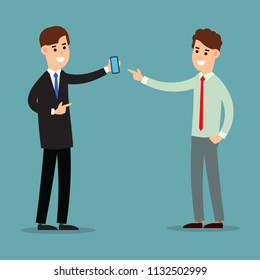 Business communication. Presentation business calling and connection. Using phone in business. Two businessman working in office. Cartoon illustration isolated on white background in flat style.
