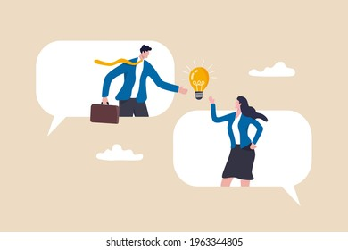 Business communication, work discussion or conversation to gathering new idea concept, business people, colleague standing on speech bubble talking about new ideas.